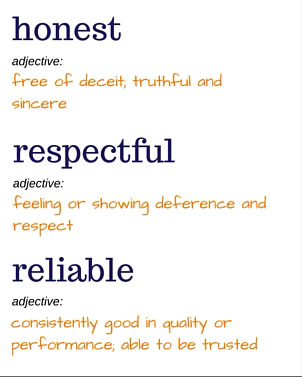 Description of our core values honest respectful and reliable