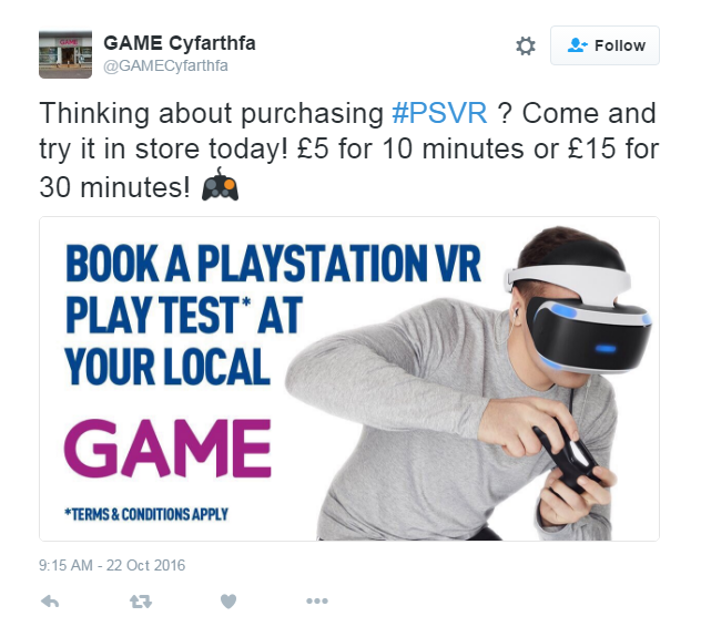 Game begins charging for PlayStation VR demos