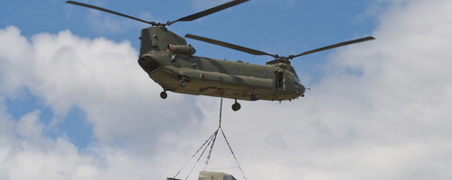British Army Chinook carrying Land Rover